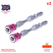 "x2 Double-Ended Magnetic Plasterboard Screwdriver Bits PH2, With 1/4"" Hex Shank."