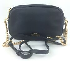 New COACH F29000 ISLA CHAIN CROSSBODY Handbag Purse Bag Pebble Leather Black