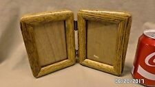 "2275M Vtg Taiwan 3 1/2"" x 5"" Double Photo Frame Hinged Oak Wood Beautiful !"