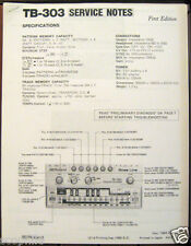 Roland TB 303 1980's Sequencer Synthesizer Service Notes Sheets
