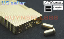 Dual Gas Refill Adapters + 4 Flints for ST Dupont lighter Line 1/2 Gold Cap