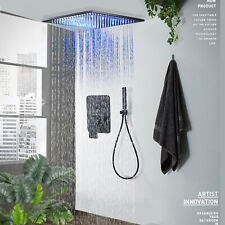 Shower Faucet ComboSet 12inch LED Rainfall Ceiling Mounted Oil Rubbed Bronze Tap