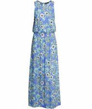 H&M Floral Maxi Dress Sleeveless Cinch Waist Size 2 Blue White Slip On