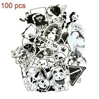 100pcs Fit Cartoon Black White Graffiti Vinyl Sheet Wrap Decal Sticker Bomb UK 2