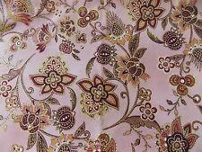 New listing WtW Fabric Floral Bty Ceylon 6010 Hoffman Nature Garden Pink Metallic Folk Quilt
