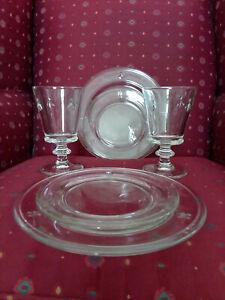 Lot of 6 La Rochere Napoleon Bee Clear Glass: L Plates, S Plates, and L Goblets