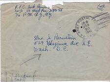 Censored free frank cover, APO 35, Netherlands, 1945