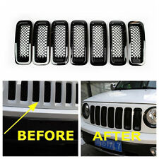 7x Front Mesh Grille Cover Insert Black Grill Trim For Jeep Patriot 2011-2016 bl