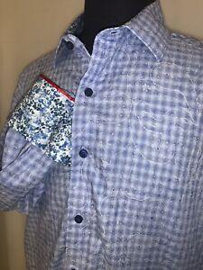 Superb Robert Graham Button Front Shirt Sz L Contrasting Cuffs