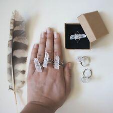 Anillo Cuarzo en bruto anillo plata Cuarzo natural boho etnico Zamak anillo chic