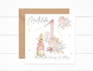 Personalised Girls Birthday Card 1st Birthday Peter Rabbit Flopsy One Today