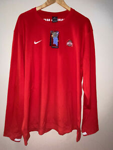 Nike Ohio State Buckeyes Mens L/S Coaches Sideline Pullover Sweater XXL Red NEW
