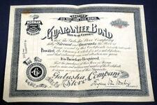 Vtg Antique Norman Stoves + Ranges Galusha Stove Co. Guarantee Bond Rochester NY