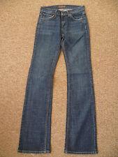 Dry Aged Denim UK6 W25 L34 Blu Scuro Donna Stretch Denim Jeans Bootcut in buonissima condizione