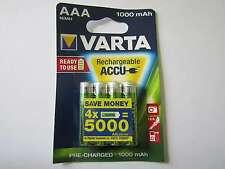 4x AAA 1000mah batterie nickel-hydrure hr03 varta ar1483
