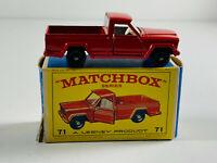 Matchbox Toy Car Truck w/ Box 71 Jeep Gladiator England Lesney w/ Box