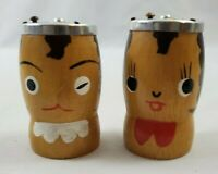 VINTAGE Wooden Salt & Pepper Shakers Hand Painted Metal Tops