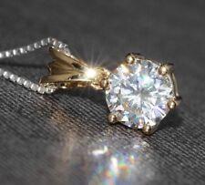 "1.00 Carat 6.5mm White Round Diamond Pendant 18"" Necklace 14K Yellow Gold GP"