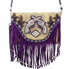 Messenger Bag Feature Double Pistol Fringe Hipster Crossbody Purse Wallet Purple
