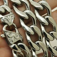 """7""""-40""""Silver Gold Heavy Stainless Steel Mens 15mm Curb Cuban Link Chain Necklace"""