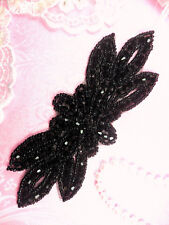 "JB162 Black Beaded Flower Applique Floral Iron On 6"" (JB162-bk)"
