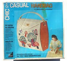 SEALED Vintage 1970 Chic & Casual DO IT YOURSELF Crafts Handbag PURSE Mushrooms