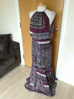 Ladies VERY Dress Size 12 Purple Paisley Long Maxi Chiffon Party Evening