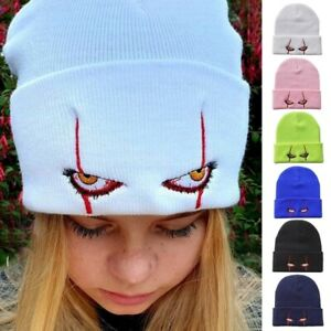 Unisex Winter Knitted Beanie Hat Scary Clown Eyes Embroidery Hip Hop Cuffed Cap