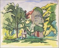 MATEO CRISTIANI 1890 FRANKFURT 1962 »VILLA IM GRÜNEN« Jugendstil 46 x 56 cm