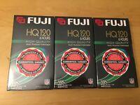(3) THREE FUJI HQ120 MULTI PURPOSE VHS TAPES, NEW / FACTORY SEALED