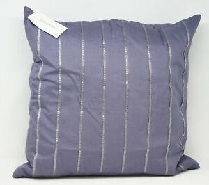 """Calvin Klein Metallic Sequins Pleat 18"""" Cotton Decorative Pillow - Lilac"""