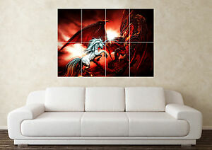 Large Dragon 3 Fantasy Myth Gothic Magic Fire  Wall Poster Art Picture Print