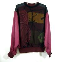 vintage 90s SAXONY sweater crewneck 100% silk cosby biggie textured M MEDIUM