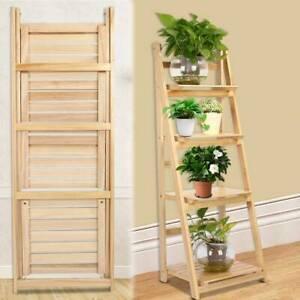 4 Tier Ladder Book Shelf Folding Plant Flower Display Unit Wooden Storage Rack