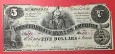 1861 $5 Us Confederate States of America! Paper Money Currency! Rough Old Money!