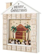 BRUBAKER Advent Calendar - Wooden House - with LED lighting - White/Gold/Beige