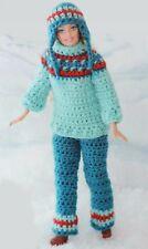 Crochet Pattern TEENAGE DOLLS CLOTHES Barbie Sindy SKI SUIT - PANTS HAT SWEATER