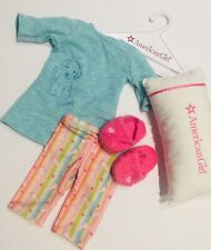 American Girl Doll Honey Puppy Rainbow Pyjamas with Terry Slippers BONUS Pillow
