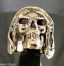 Hear No Evil Polished BRONZE Death Skull biker Ring   RG0052/B