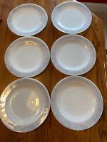 Set Of 6 Vintage Federal Milk Glass 9-inch  Plate Scribbles Pattern 1950's
