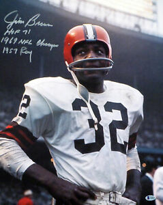 JIM BROWN AUTOGRAPHED SIGNED 16X20 PHOTO BROWNS WITH STATS BECKETT 181027