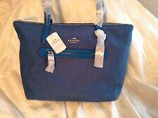 NWT Coach Nylon Zip Top Tote Shoulder Bag 35500 Peacock Blue Gorgeous!!!!!