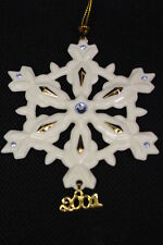 Mint Annual 2001 Lenox Ivory China Snowflake Ornament w/Sapphire Blue Crystals