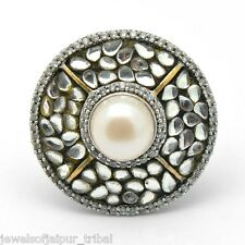 Sterling Silver CZ Round Pearl stone Yellow Gold Plated Ring Women's Jewelry AU