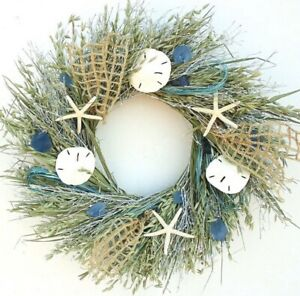 "SALE!! 22"" Blue Beach Seaglass Seashell And Starfish Aqua Twig Round Wreath"