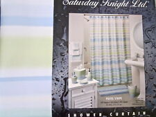 Saturday Knight Stripe Shower Curtain Pastel Blue Green Yellow Watercolor NEW