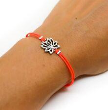 Silver Lotus bracelet bright peach cord womens yoga jewelry friendship charm NEW