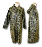 WATERPROOF LONG RAIN JACKET CAMO HUNTING ARMY FISHING WINDPROOF MAC COAT
