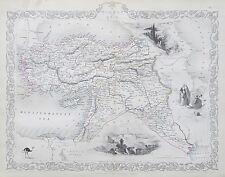 c1854 TURKEY IN ASIA CYPUS SYRIA ETC Genuine Antique Map by Rapkin FREE SHIPPING