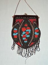1920-30's Seed  Bead  Purse Floral Design / Plastic Covered Frame